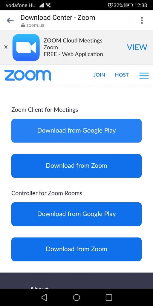 Zoom Client for Meetings letöltési oldal Android telefonról vagy tabletről